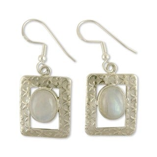 Sterling Silver 'Hypnotic Intuition' Moonstone Earrings (India)