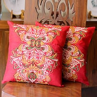 Set of 2 Handmade Polyester 'Celebration' Cushion Covers (India)