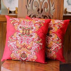 Set of 2 Handmade Polyester 'Celebration' Cushion Covers (India)