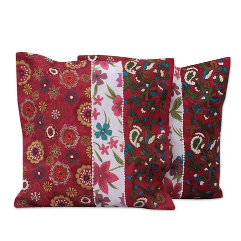 Set of 2 Handmade Polyester 'Garden of Love' Cushion Covers (India)