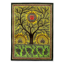 Tree of Life Multicolor Madhubani Original Artisan Signed Painting Decor Accent Wall Artwork (India)