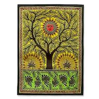 Handmade Tree of Life Multicolor Madhubani Original Artisan Signed Painting Decor Accent Wall Artwork (India)