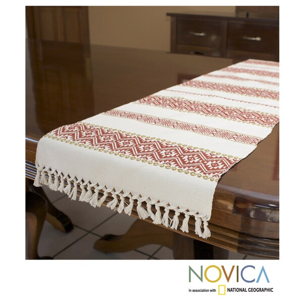 Handcrafted Cotton 'Terracotta Bouquet' Table Runner (Guatemala)