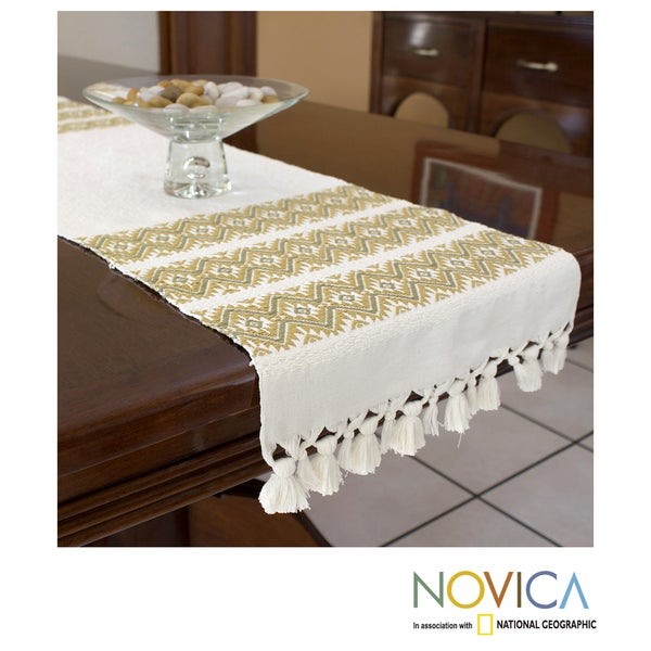 Handcrafted Cotton 'Golden Stars' Table Runner (Guatemala)