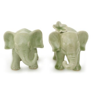 Handmade Set of 2 Ceramic 'Noble Elephants' Celadon Sculptures (Thailand)