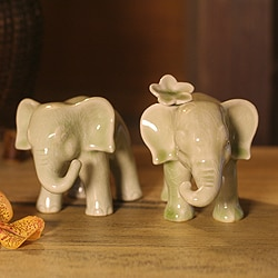Set of 2 Ceramic 'Noble Elephants' Celadon Sculptures (Thailand)