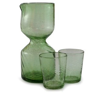 Handmade Set of 2 Blown Glass 'Cool Chalice' Carafe and Glasses (Guatemala)