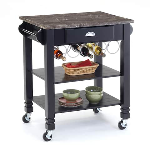 Bernards Black Faux Marble Top Kitchen Island