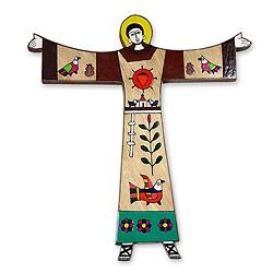 Handcrafted Pinewood 'Saint Francis' Wall Art , Handmade in El Salvador