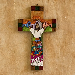 Pinewood Cross 'Community Of Love' , Handmade in El Salvador