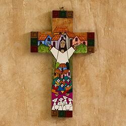 Pinewood Cross 'Community Of Love' , Handmade in El Salvador