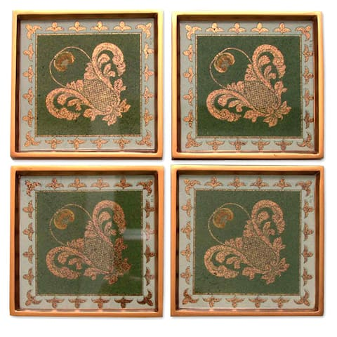 Handmade Set of 4 Painted Glass 'Colonial Jade' Coasters (Peru)