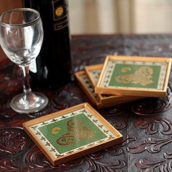 Handmade Set of 4 Painted Glass 'Colonial Jade' Coasters (Peru)