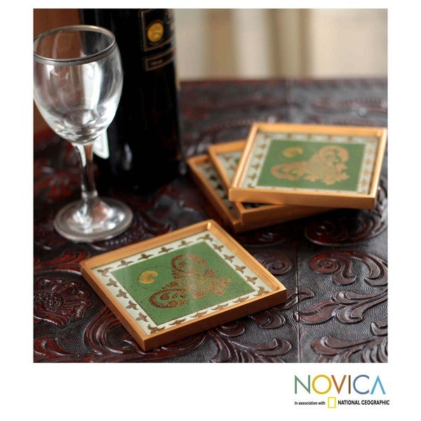 Set of 4 Painted Glass Handmade 'Colonial Jade' Coasters (Peru)