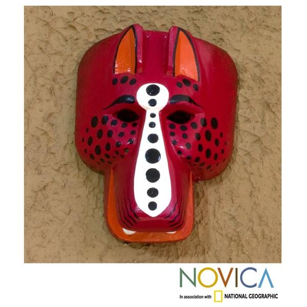 Handcrafted Pinewood 'Red Jaguar' Mask (Guatemala)