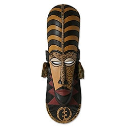 Handcrafted Sese Wood 'Ashanti Wisdom' African Mask (Ghana)