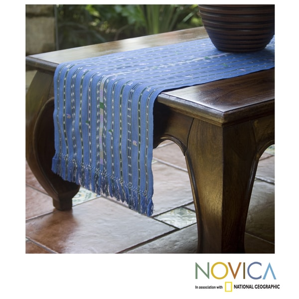 Handcrafted Cotton 'Guatemala Blue' Table Runner (Guatemala)