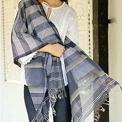 Handmade Cotton and Silk 'Maheshwar Midnight' Shawl (India)