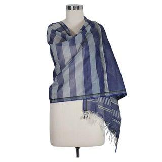 Handmade Cotton and Silk 'Maheshwar Midnight' Shawl (India)