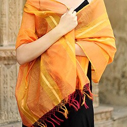 Handmade Cotton and Silk 'Madhya Pradesh Sunset' Shawl (India)
