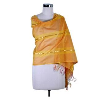 Handmade Cotton and Silk 'Madhya Pradesh Sunset' Shawl (India)
