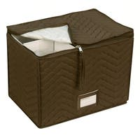 Richards Homewares Wine Glass Goblets Deluxe Storage Chest - Top-Loading - Holds 6 Stemware Glasses - Quilted Microfiber - Brown
