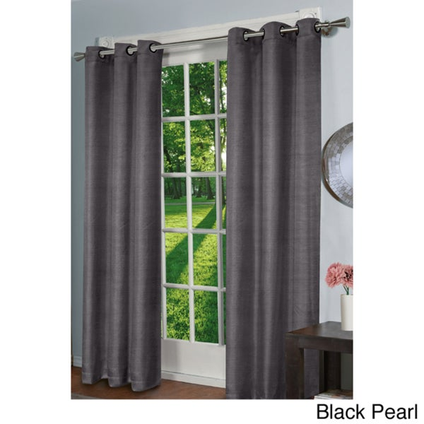 ATI Home Design Decor Faux Silk Blackout 84-inch Curtain Panel Pair