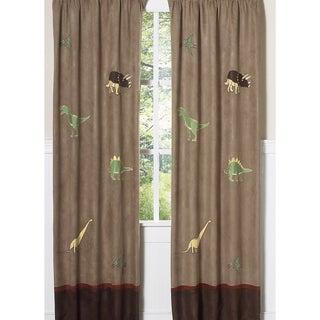 Sweet Jojo Designs Rust, Avocado, Butternut Yellow, Chocolate and Camel Dinosaur 84-inch Window Treatment Curtain Panel Pair