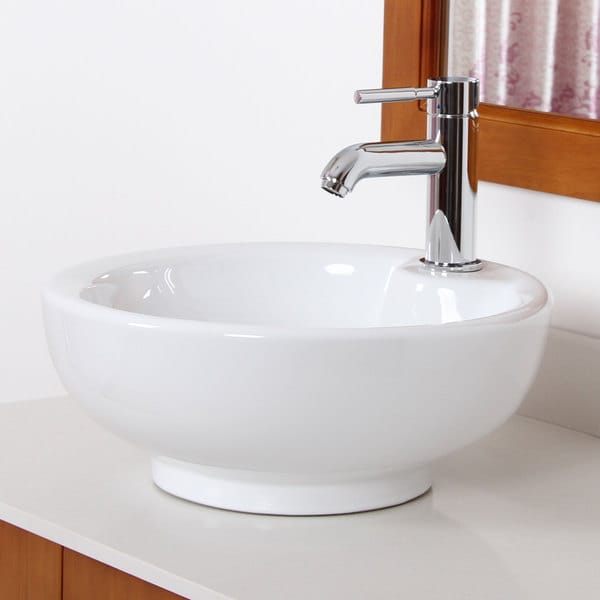 Vessel Style Bathroom Sinks : Elite Grade A Ceramic Round Vessel-style Bathroom Sink - Free Shipping ...