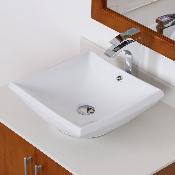 Elite Grade A Ceramic Square Design Vessel Bathroom Sink