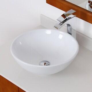 Elite White Ceramic Round Bathroom Sink
