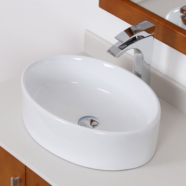 Elite White Ceramic Over The Counter Oval Bathroom Sink