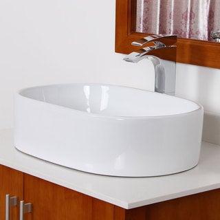 Elite Bathroom White Ceramic Oval Sink with Chrome Pop up drain