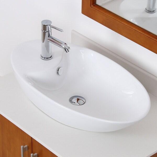 Elite White Ceramic Contemporary Oval Bathroom Sink