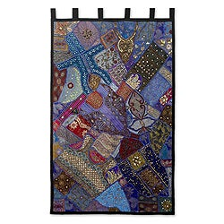 Mystical Gujarat Patchwork Applique with Sequins Mirrors Beads on Multicolor Blue Decorator Accent Wall Art Hanging (India)