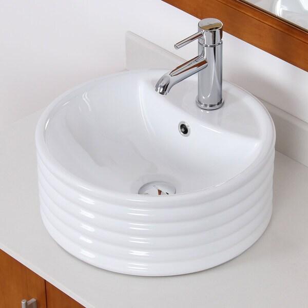 Elite White Ceramic Bathroom Round Vessel Sink