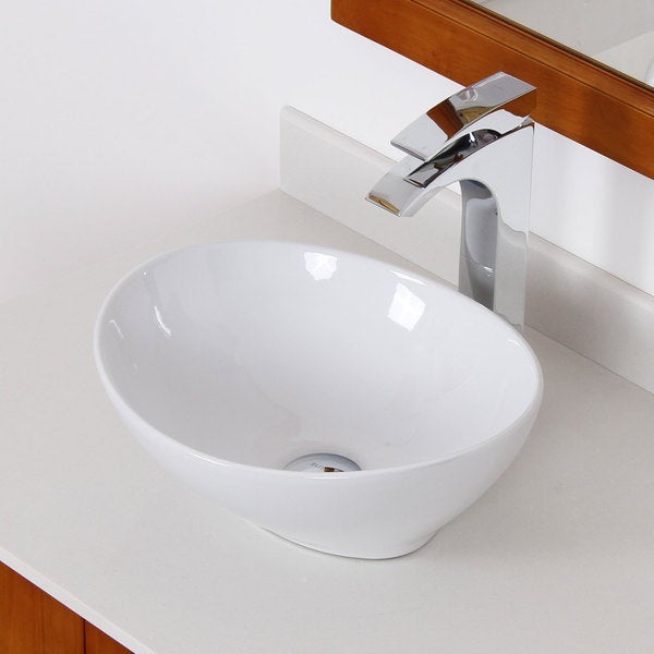 Bathroom Sinks Overstock elite white ceramic oval bathroom sink - free shipping today