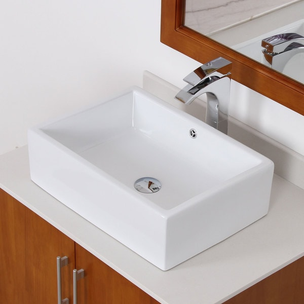 Elite White Tall Ceramic Square Bathroom Sink