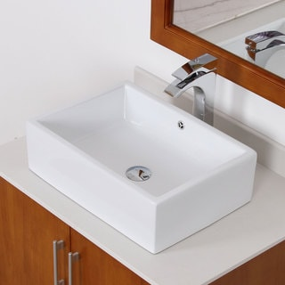 Elite White Tall Ceramic Square Bathroom Sink