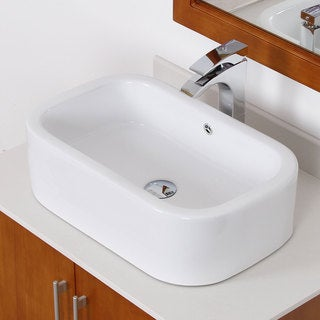 Elite White Ceramic Square Bathroom Sink