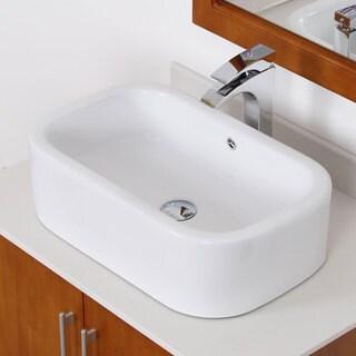 Elite White Ceramic Square Bathroom Sink