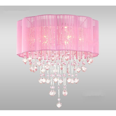 Eos 4-Light Chrome Ceiling Lamp with Sheer Pink Shade