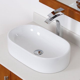 Elite White Ceramic Oval Bathroom Sink