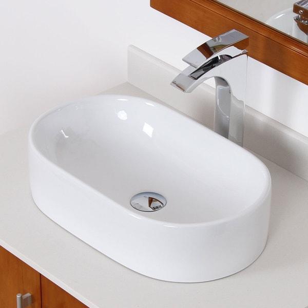 Elite White Ceramic Oval Bathroom Sink
