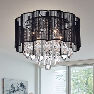 'Enyo' Chrome and Crystal Shaded Ceiling Lamp
