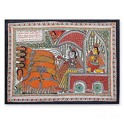 Handmade Madhubani 'The Mahabharata Battle' Folk Art Painting (India)