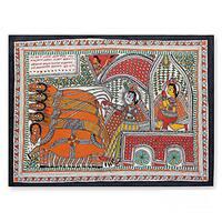 Handmade Madhubani 'The Mahabharata Battle' Folk Art Painting (India)