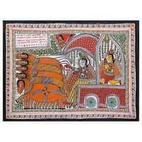 Handmade Madhubani 'The Mahabharata Battle' Folk Art Painting (India) - Orange