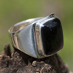 Art of Life Modern Rectangular Black Jade Gemstone Set in Highly Polished 925 Sterling Silver Mens Ring (Guatemala)
