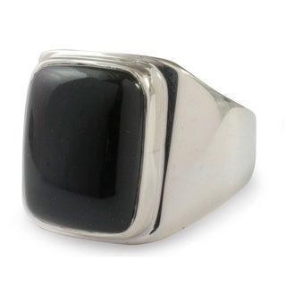 Handmade Art of Life Modern Rectangular Black Jade Gemstone Set in Highly Polished 925 Sterling Silver Mens Ring (Guatemala)